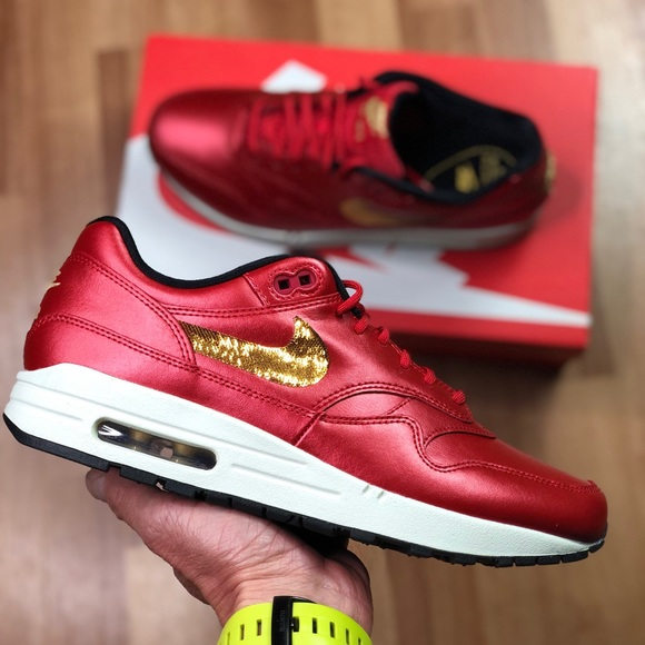 Nike Air Max 1 Red Gold Sequin (CT1149-600) Womens